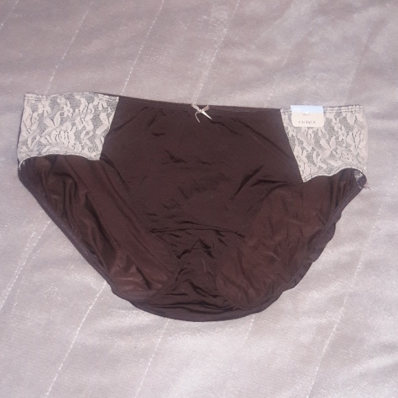 Cacique Other - Brown & Cream Hipster Panties w/Lace NWT 14/16